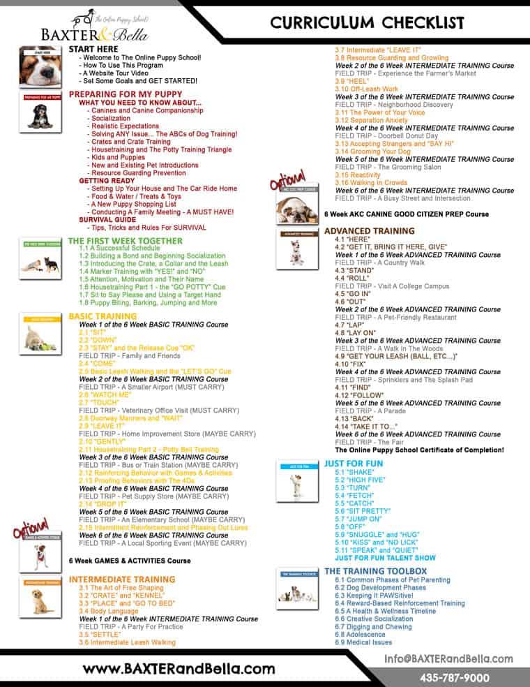 Baxter and Bella Curriculum checklist